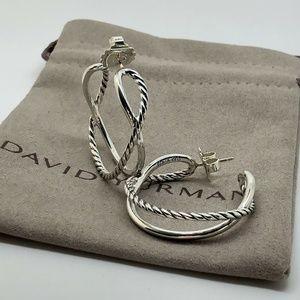 David Yurman Silver Crossover Hoop Earrings 34mm